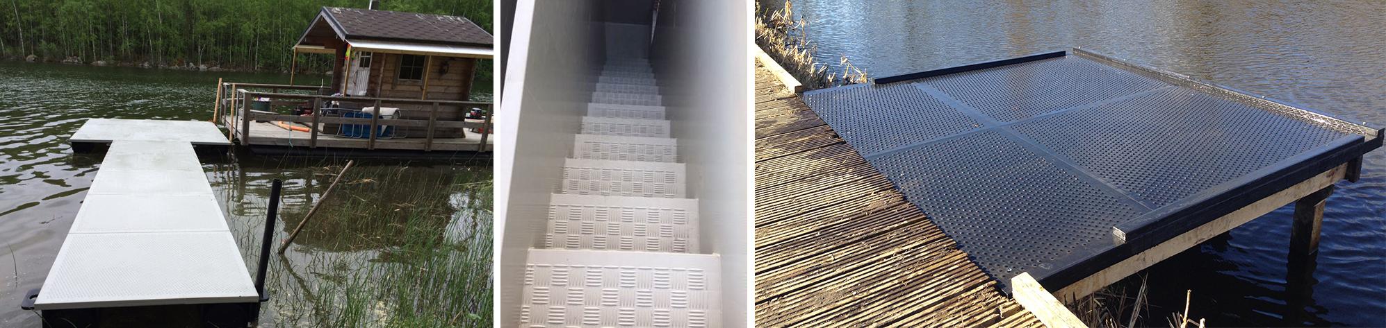 Pisos, escaleras y pontones. Los paneles Paneltim son muy adecuados para aplicaciones de pavimentos y para uso en escaleras. Gracias a sus propiedades de aislamiento (plástico de baja conductividad térmica, envolvente de aire en la estructura celular) y antideslizantes, son excelentes para su uso en aplicaciones de suelos. No es posible una condensación interna del agua.